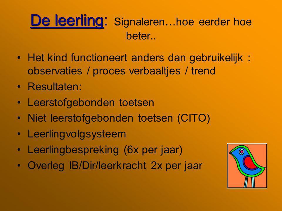 De leerling De leerling: Signaleren…hoe eerder hoe beter.. Het kind functioneert anders dan gebruikelijk : observaties / proces verbaaltjes / trend Re