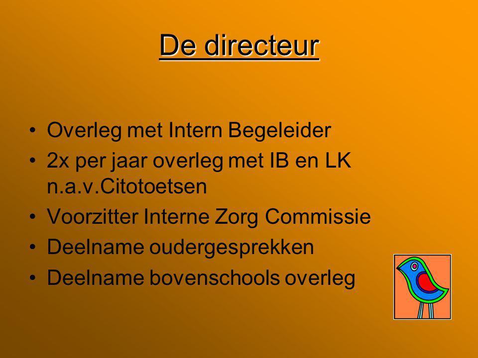 De directeur Overleg met Intern Begeleider 2x per jaar overleg met IB en LK n.a.v.Citotoetsen Voorzitter Interne Zorg Commissie Deelname oudergesprekken Deelname bovenschools overleg