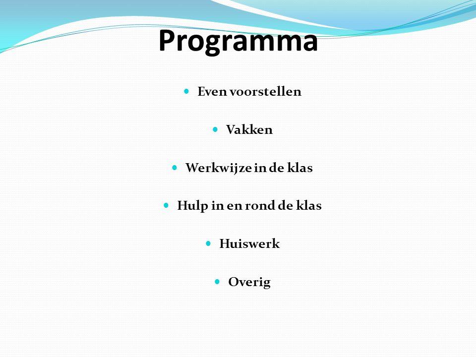 Programma Even voorstellen Vakken Werkwijze in de klas Hulp in en rond de klas Huiswerk Overig