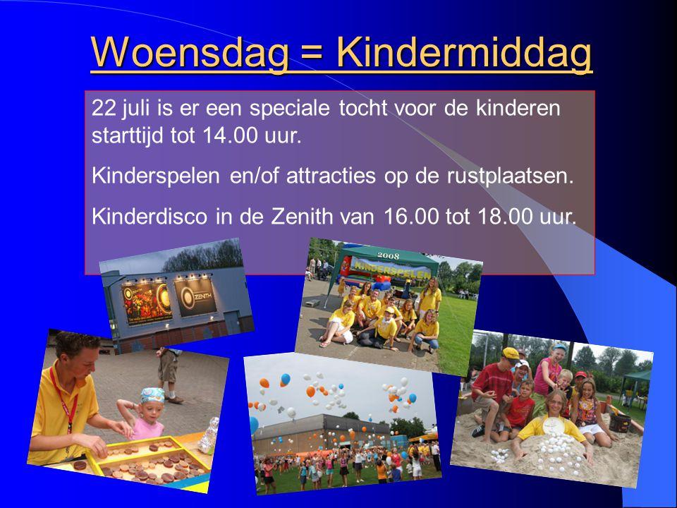 Woensdag = Kindermiddag 22 juli is er een speciale tocht voor de kinderen starttijd tot 14.00 uur.