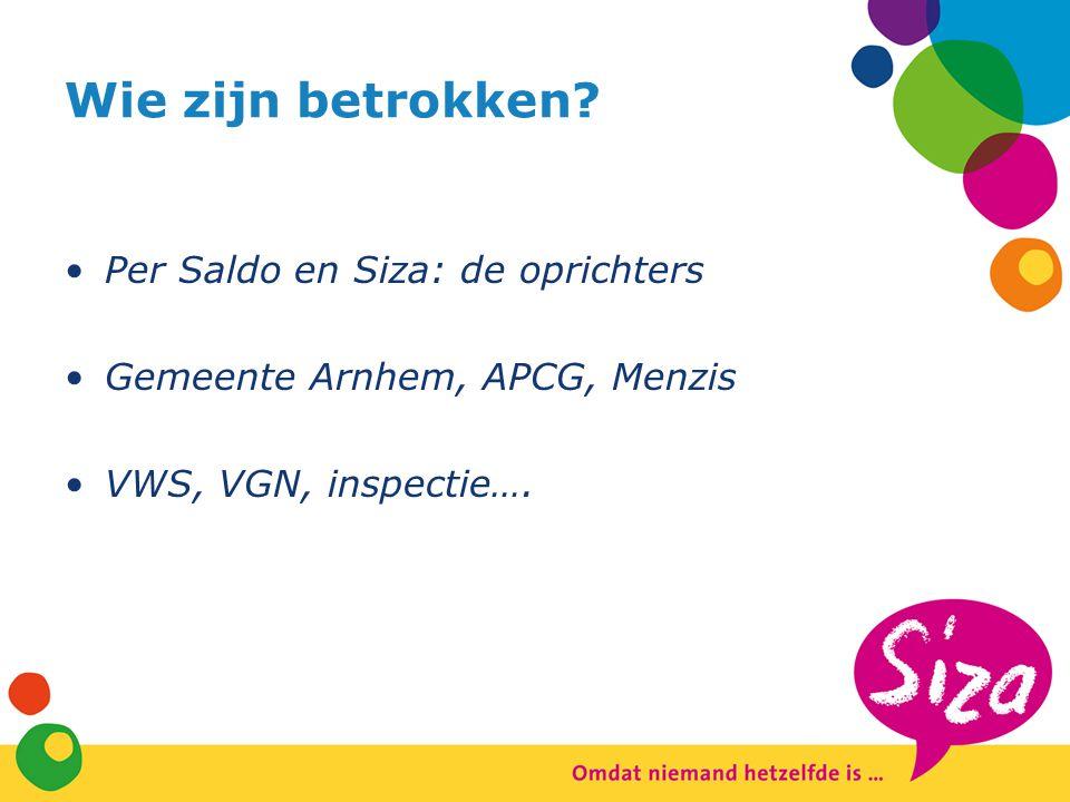 Wie zijn betrokken? Per Saldo en Siza: de oprichters Gemeente Arnhem, APCG, Menzis VWS, VGN, inspectie….
