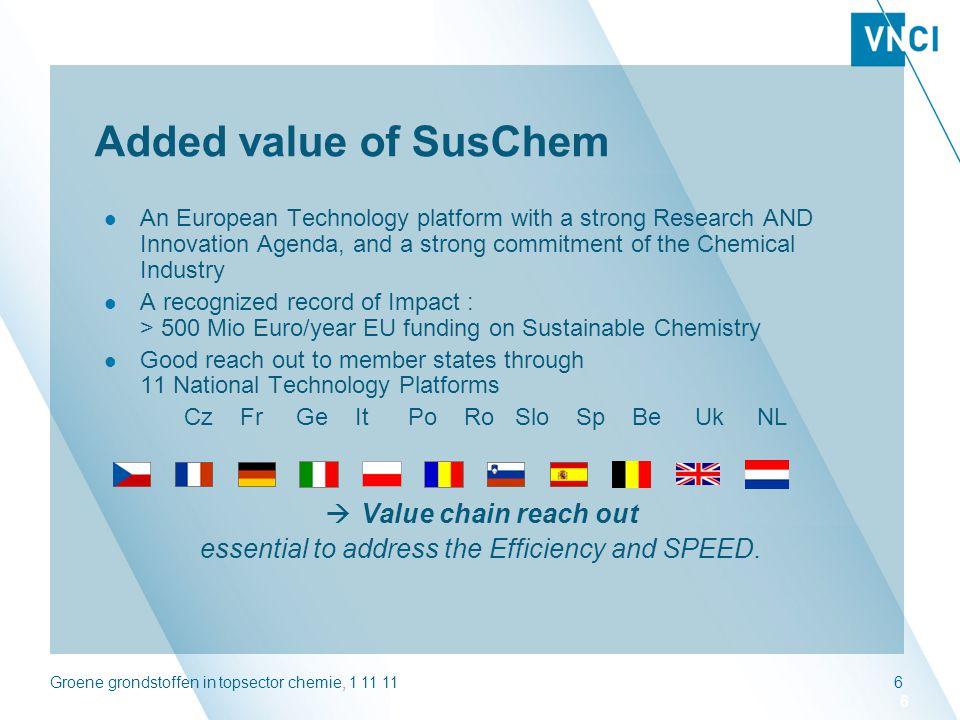 Groene grondstoffen in topsector chemie, 1 11 1117 Biotech in katalyse & duurzame processen R&DPilotProductie ASPECT (Advanced Sustainable Processes by Engaging Catalytic Technologies) Richt zich op katalytische chemische processen in de bulkchemie met als doel de duurzaamheid van deze processen te verbeteren.