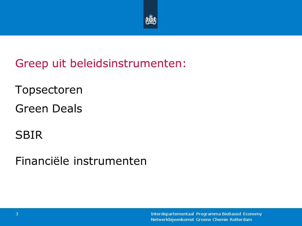 Netwerkbijeenkomst Groene Chemie Rotterdam Interdepartementaal Programma BioBased Economy 3 Greep uit beleidsinstrumenten: Topsectoren Green Deals SBI
