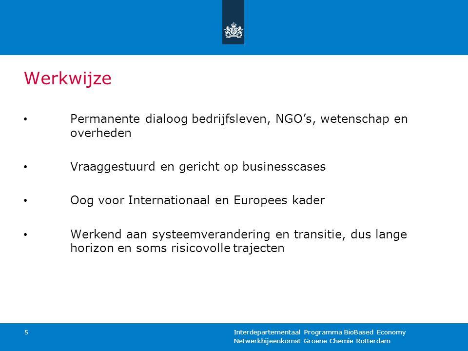 Netwerkbijeenkomst Groene Chemie Rotterdam Interdepartementaal Programma BioBased Economy 5 Werkwijze Permanente dialoog bedrijfsleven, NGO's, wetensc