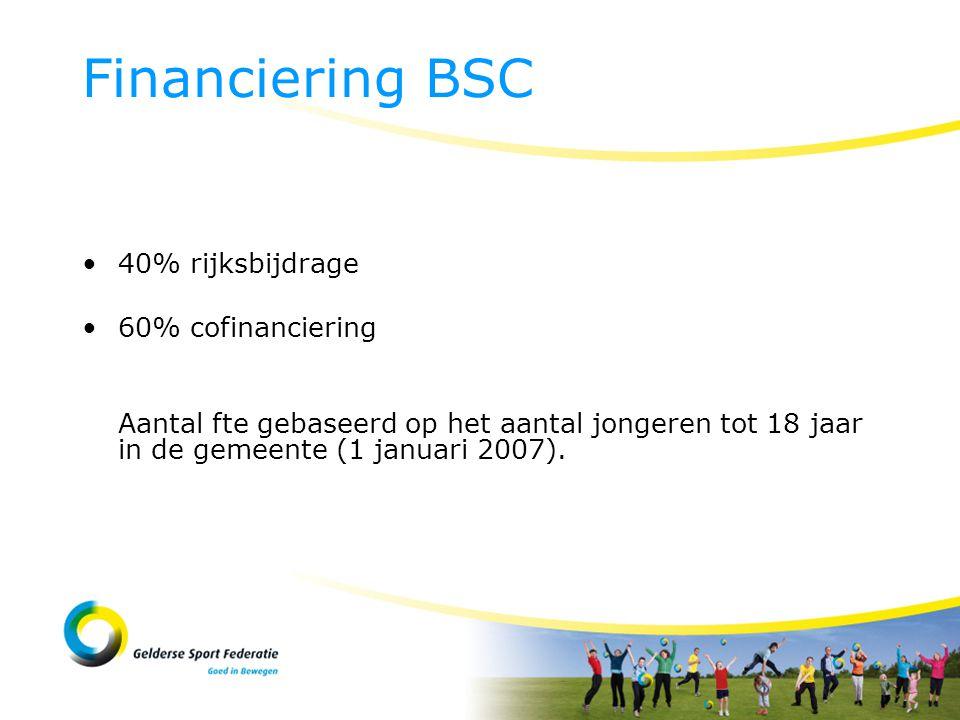 40% rijksbijdrage 60% cofinanciering Aantal fte gebaseerd op het aantal jongeren tot 18 jaar in de gemeente (1 januari 2007).