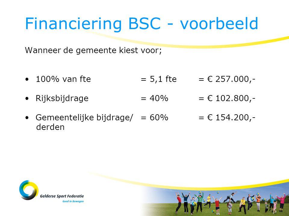 Wanneer de gemeente kiest voor; 100% van fte= 5,1 fte= € 257.000,- Rijksbijdrage = 40%= € 102.800,- Gemeentelijke bijdrage/= 60%= € 154.200,- derden Financiering BSC - voorbeeld