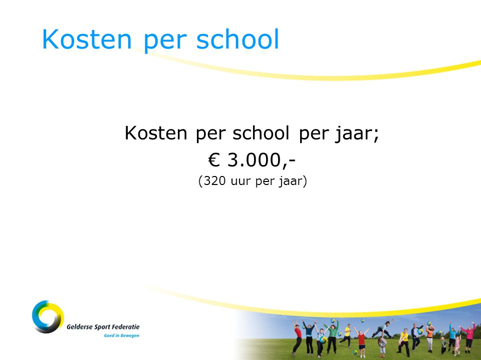 Kosten per school per jaar; € 3.000,- (320 uur per jaar) Kosten per school