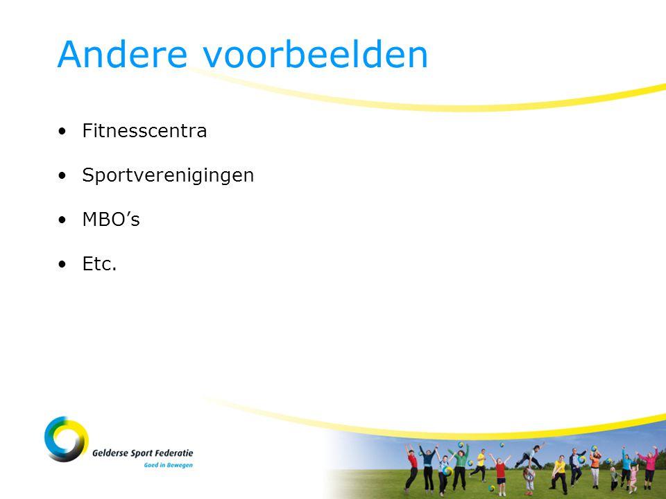 Fitnesscentra Sportverenigingen MBO's Etc. Andere voorbeelden