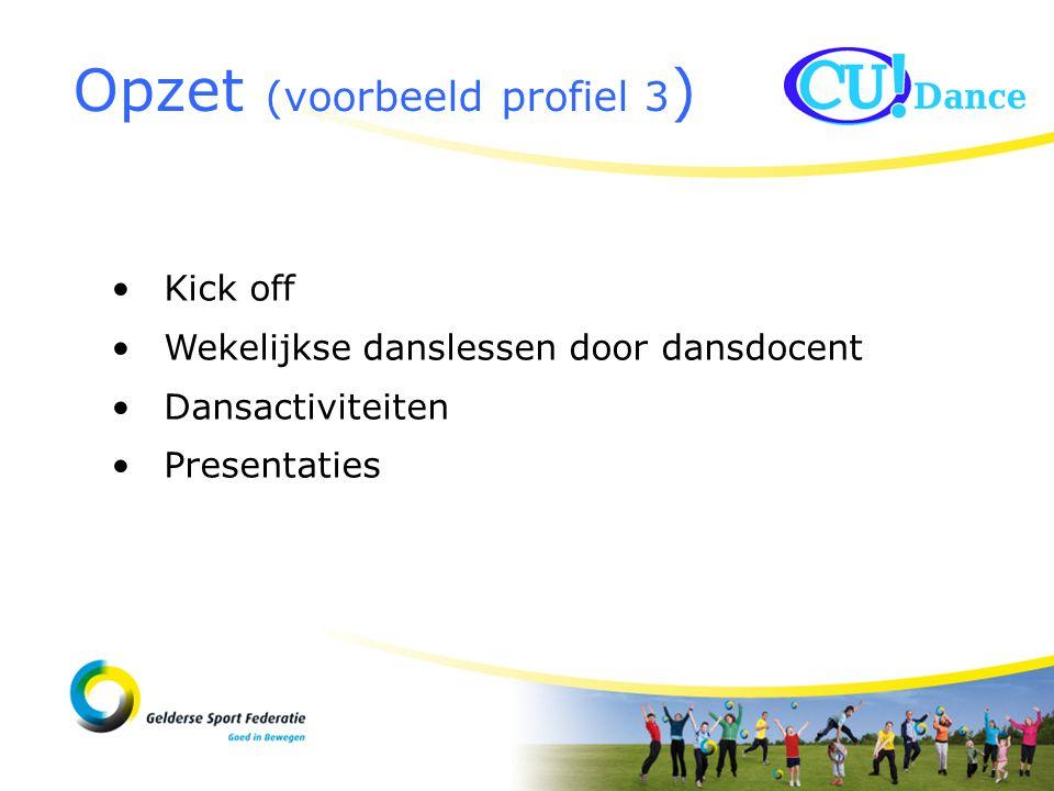 Opzet (voorbeeld profiel 3 ) Kick off Wekelijkse danslessen door dansdocent Dansactiviteiten Presentaties