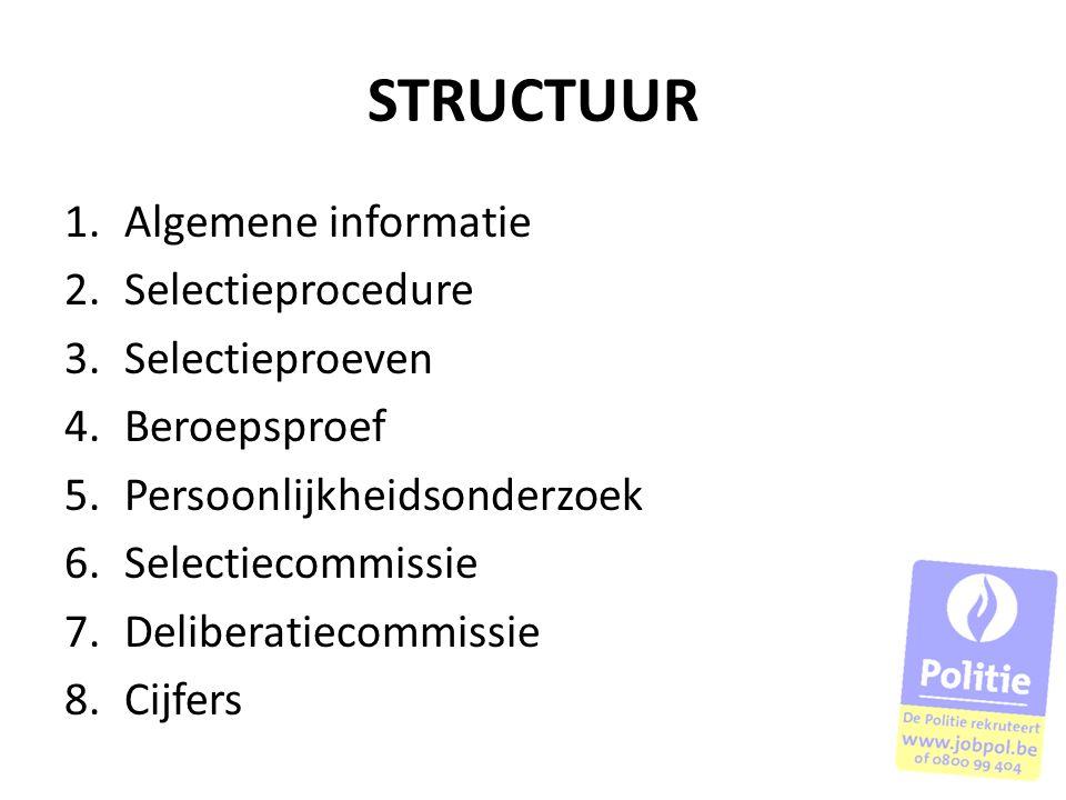 STRUCTUUR 1.Algemene informatie 2.Selectieprocedure 3.Selectieproeven 4.Beroepsproef 5.Persoonlijkheidsonderzoek 6.Selectiecommissie 7.Deliberatiecomm