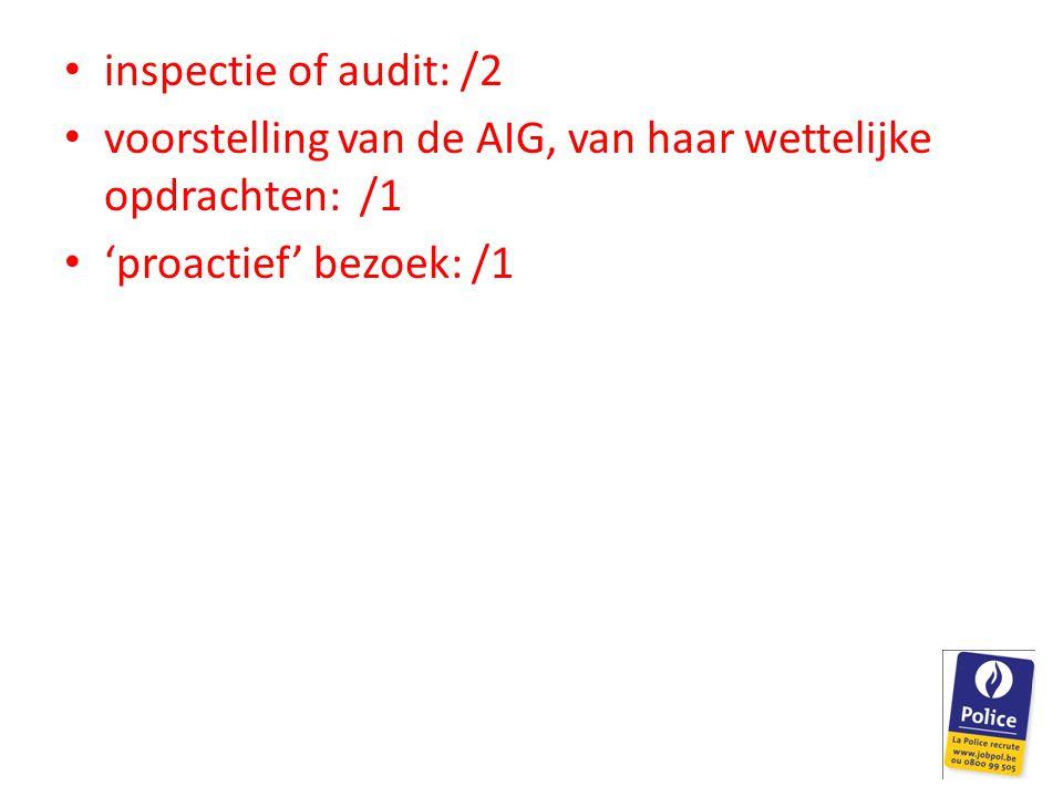 inspectie of audit: /2 voorstelling van de AIG, van haar wettelijke opdrachten: /1 'proactief' bezoek: /1