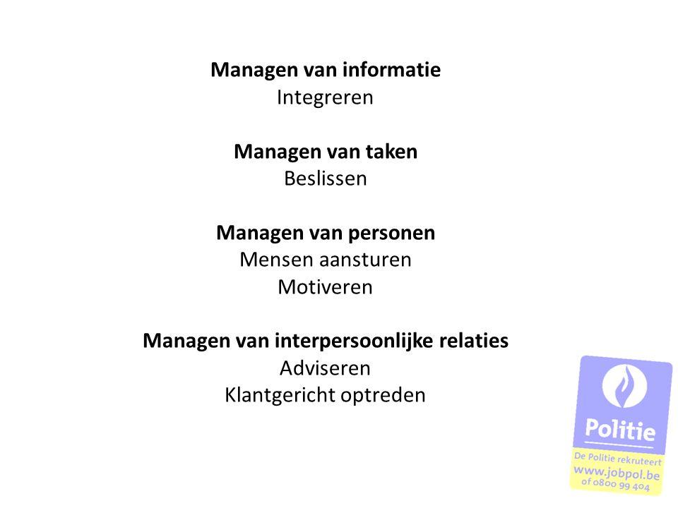 Managen van informatie Integreren Managen van taken Beslissen Managen van personen Mensen aansturen Motiveren Managen van interpersoonlijke relaties A