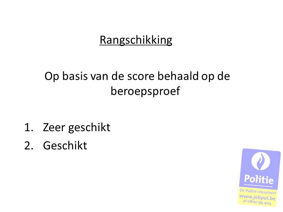 Rangschikking Op basis van de score behaald op de beroepsproef 1.Zeer geschikt 2.Geschikt