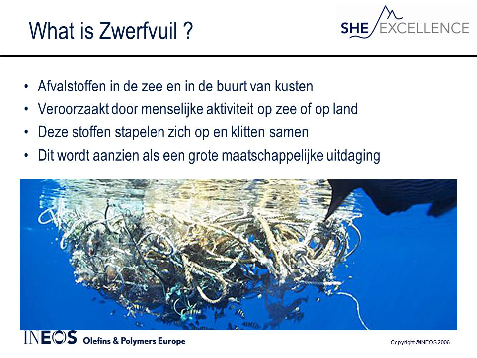 Copyright ©INEOS 2006 What is Zwerfvuil .
