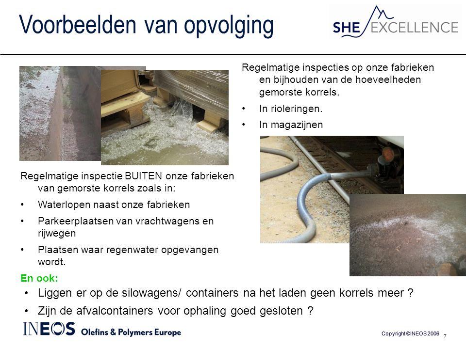 Copyright ©INEOS 2006 7 Voorbeelden van opvolging Regelmatige inspecties op onze fabrieken en bijhouden van de hoeveelheden gemorste korrels.