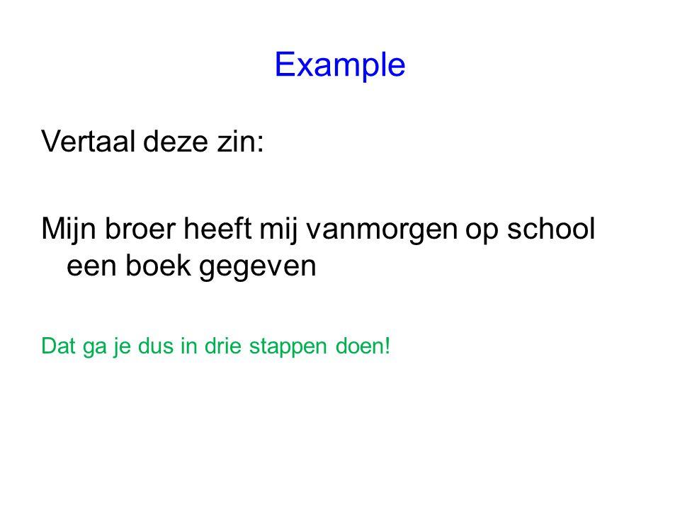 1 Letterlijk vertalen van de Nederlandse zin Mijn broer heeft mij vanmorgen op school een boek gegeven We gaan er hier van uit dat je geen moeite hebt gehad met de woorden.