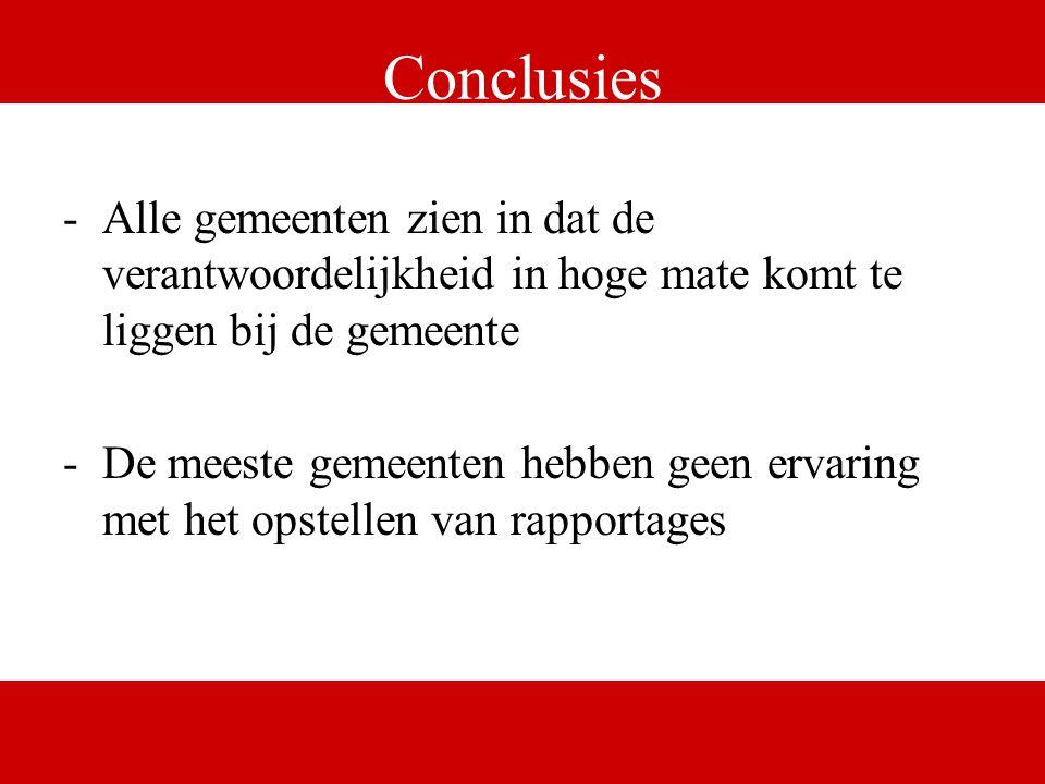 www.digital.nl Conclusies -Alle gemeenten zien in dat de verantwoordelijkheid in hoge mate komt te liggen bij de gemeente -De meeste gemeenten hebben geen ervaring met het opstellen van rapportages