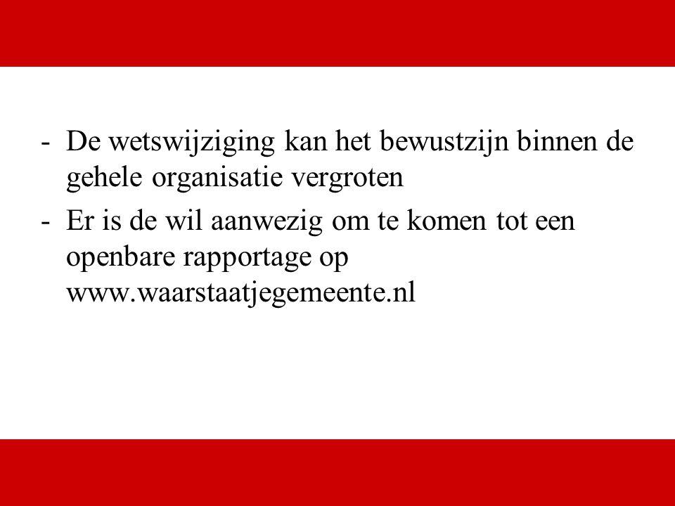 www.digital.nl -De wetswijziging kan het bewustzijn binnen de gehele organisatie vergroten -Er is de wil aanwezig om te komen tot een openbare rapport