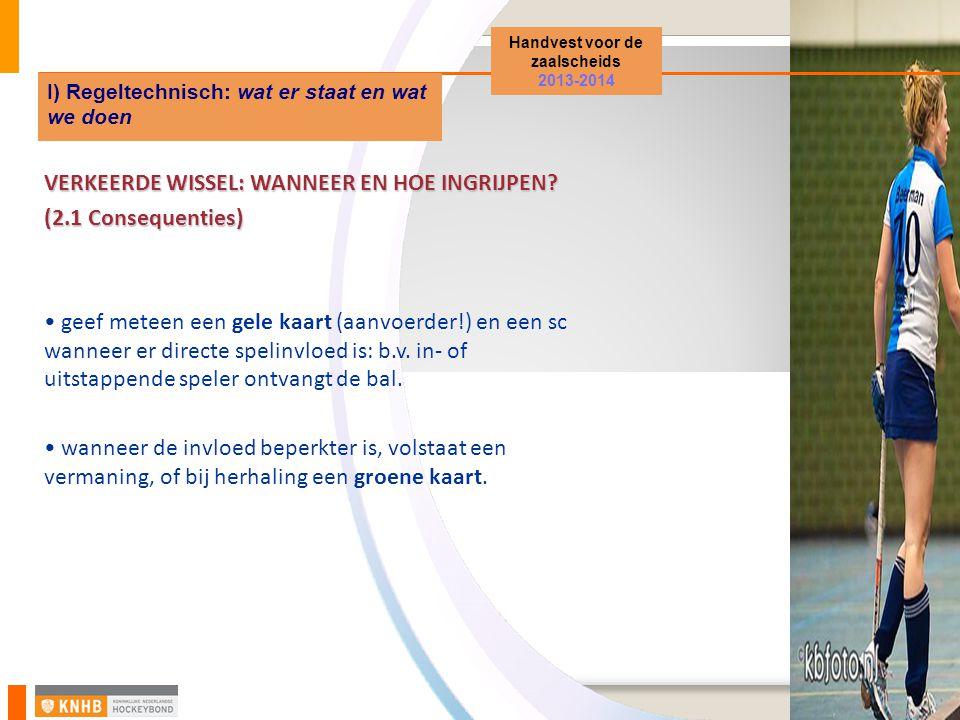 Handvest voor de zaalscheids 2013-2014 I) Regeltechnisch: wat er staat en wat we doen VERKEERDE WISSEL: WANNEER EN HOE INGRIJPEN.