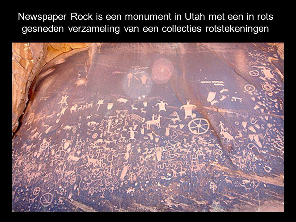 Newspaper Rock is een monument in Utah met een in rots gesneden verzameling van een collecties rotstekeningen