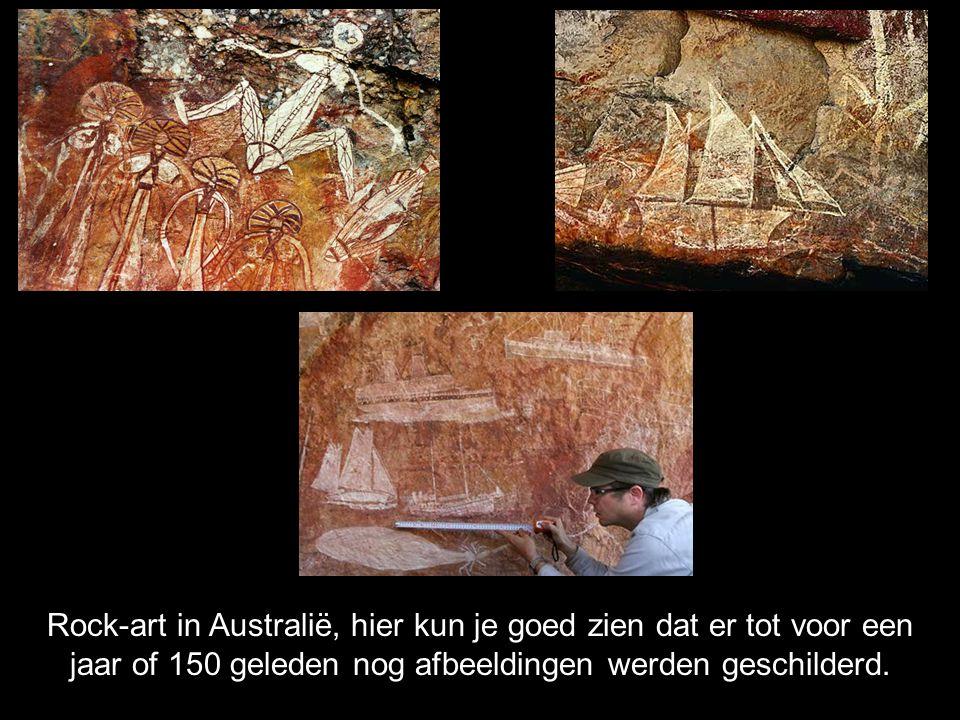 Rock-art in Australië, hier kun je goed zien dat er tot voor een jaar of 150 geleden nog afbeeldingen werden geschilderd.
