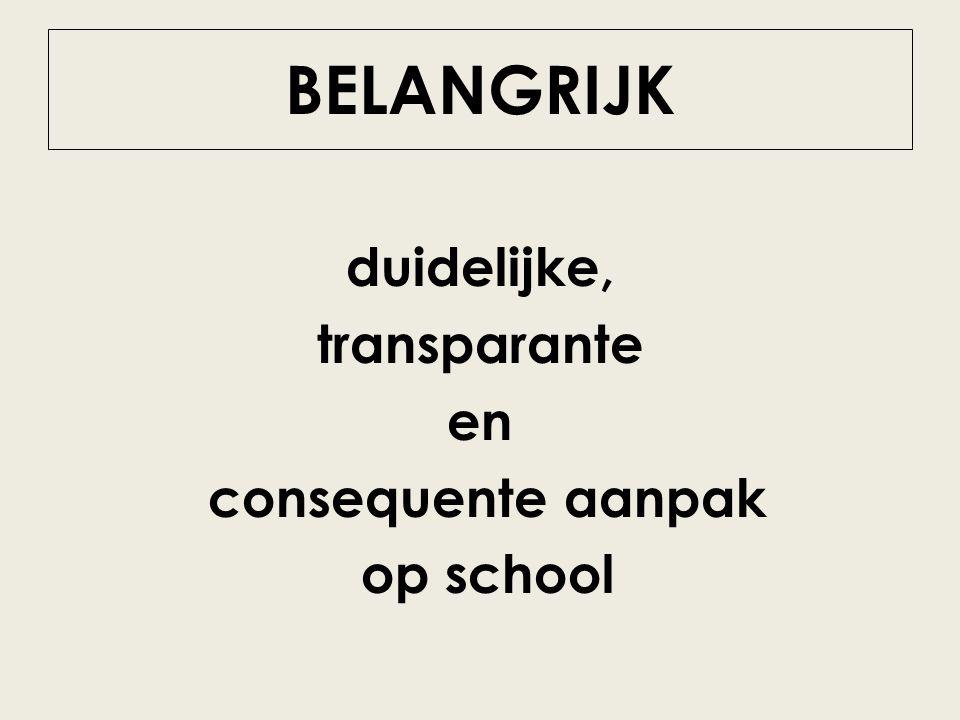 BELANGRIJK duidelijke, transparante en consequente aanpak op school