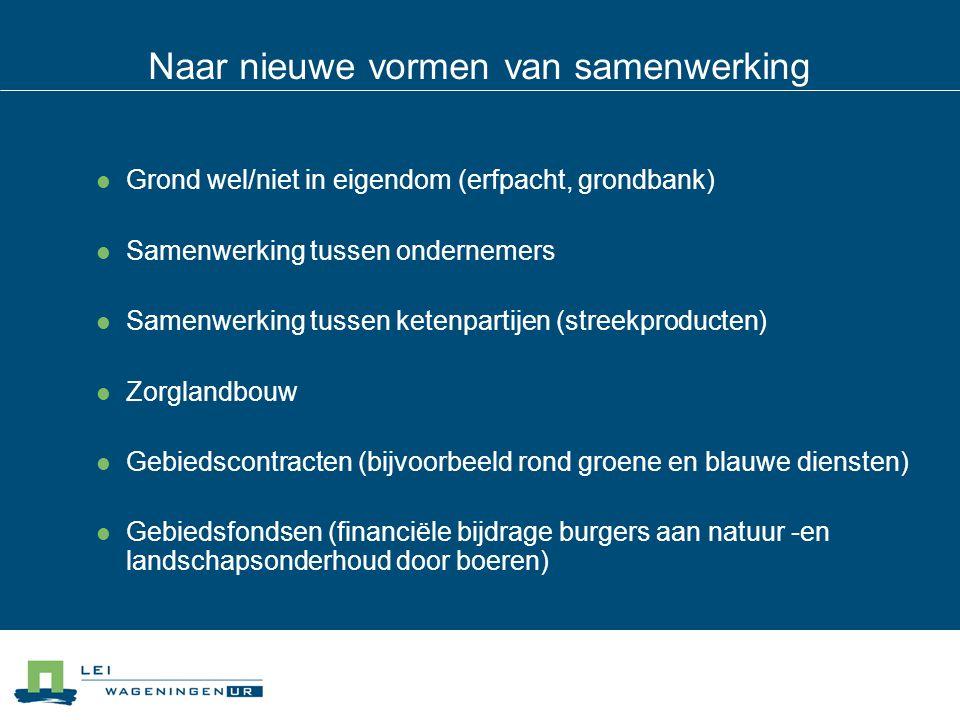 Naar nieuwe vormen van samenwerking Grond wel/niet in eigendom (erfpacht, grondbank) Samenwerking tussen ondernemers Samenwerking tussen ketenpartijen