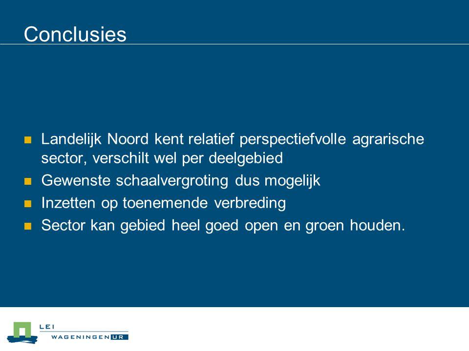 Conclusies Landelijk Noord kent relatief perspectiefvolle agrarische sector, verschilt wel per deelgebied Gewenste schaalvergroting dus mogelijk Inzet