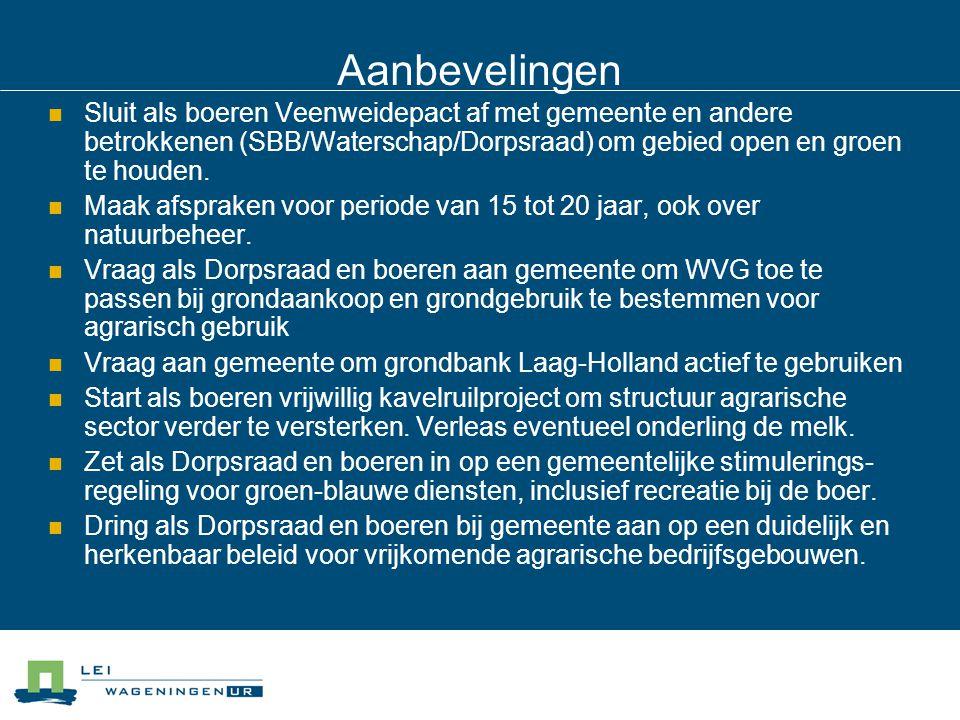 Aanbevelingen Sluit als boeren Veenweidepact af met gemeente en andere betrokkenen (SBB/Waterschap/Dorpsraad) om gebied open en groen te houden.