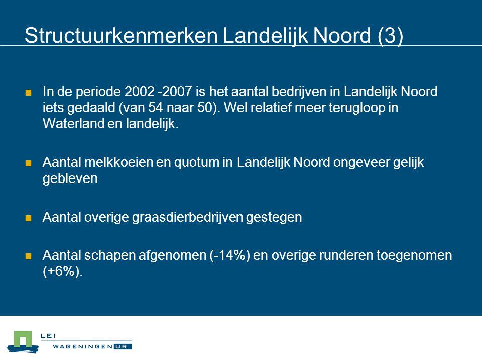Structuurkenmerken Landelijk Noord (3) In de periode 2002 -2007 is het aantal bedrijven in Landelijk Noord iets gedaald (van 54 naar 50). Wel relatief