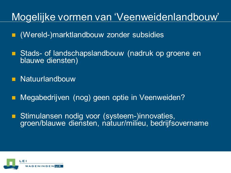 Mogelijke vormen van 'Veenweidenlandbouw' (Wereld-)marktlandbouw zonder subsidies Stads- of landschapslandbouw (nadruk op groene en blauwe diensten) Natuurlandbouw Megabedrijven (nog) geen optie in Veenweiden.