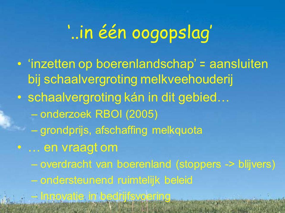 '..in één oogopslag' 'inzetten op boerenlandschap' = aansluiten bij schaalvergroting melkveehouderij schaalvergroting kán in dit gebied… –onderzoek RBOI (2005) –grondprijs, afschaffing melkquota … en vraagt om –overdracht van boerenland (stoppers -> blijvers) –ondersteunend ruimtelijk beleid –Innovatie in bedrijfsvoering bedrijvigheid –wonen of bedrijvigheid .