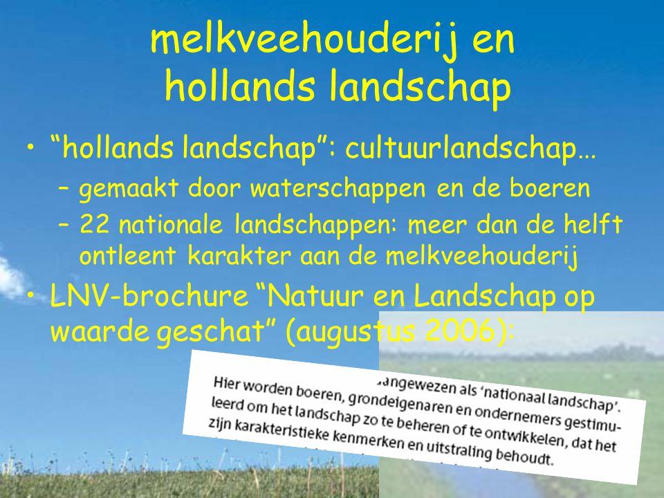 melkveehouderij en hollands landschap hollands landschap : cultuurlandschap… –gemaakt door waterschappen en de boeren –22 nationale landschappen: meer dan de helft ontleent karakter aan de melkveehouderij LNV-brochure Natuur en Landschap op waarde geschat (augustus 2006):