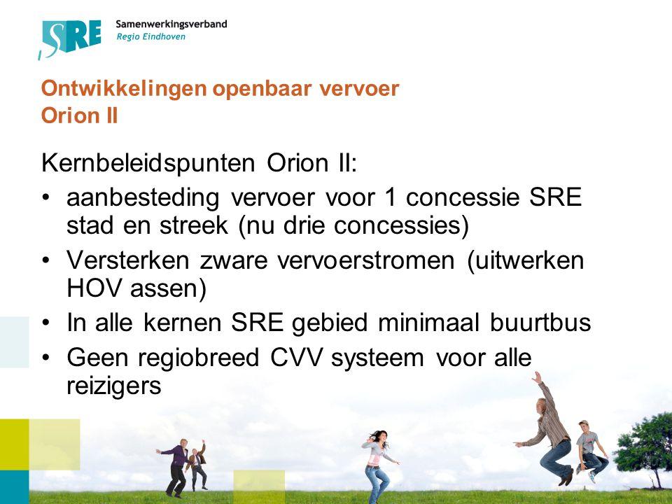 Lijnennet; beleidsdoelstelling (1) Twee functies voor openbaar vervoer in ORION II: Bereikbaarheids- of mobiliteitsfunctie: het openbaar vervoer vervult een rol in het bereikbaar maken en houden van met name de stedelijke centra Eindhoven en Helmond Maatschappelijke functie: het openbaar vervoer dient te voorzien in de verplaatsingsbehoefte van dat deel van de bevolking dat geen vervoersalternatieven heeft