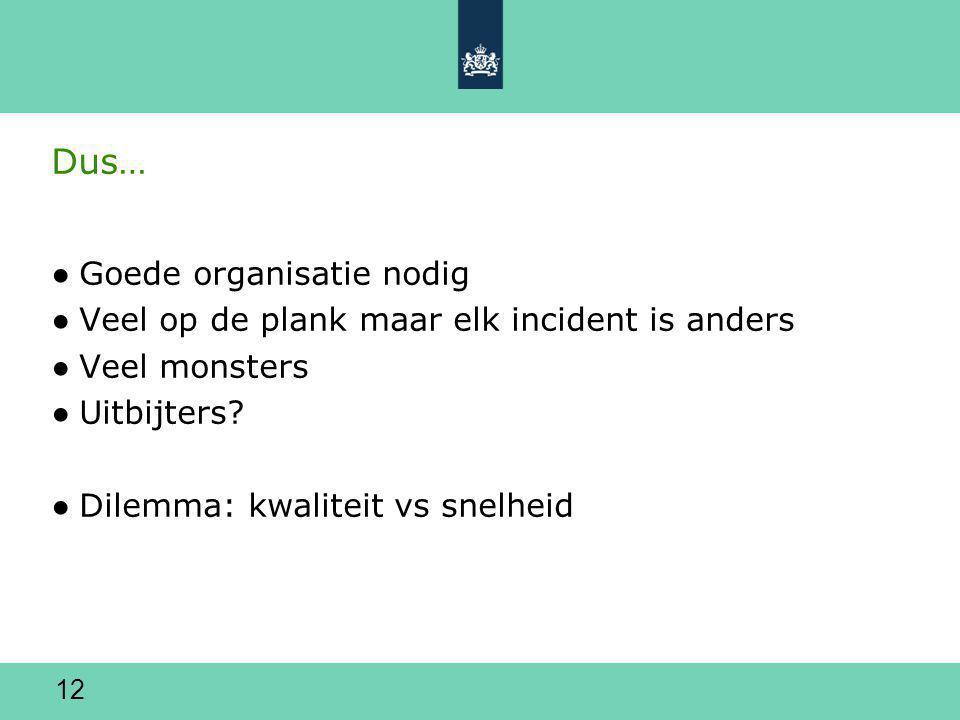 12 Dus… ●Goede organisatie nodig ●Veel op de plank maar elk incident is anders ●Veel monsters ●Uitbijters.