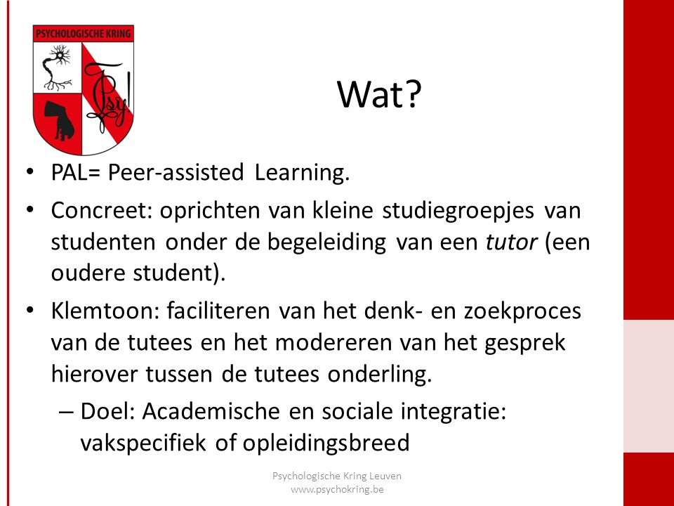 Wat. PAL= Peer-assisted Learning.