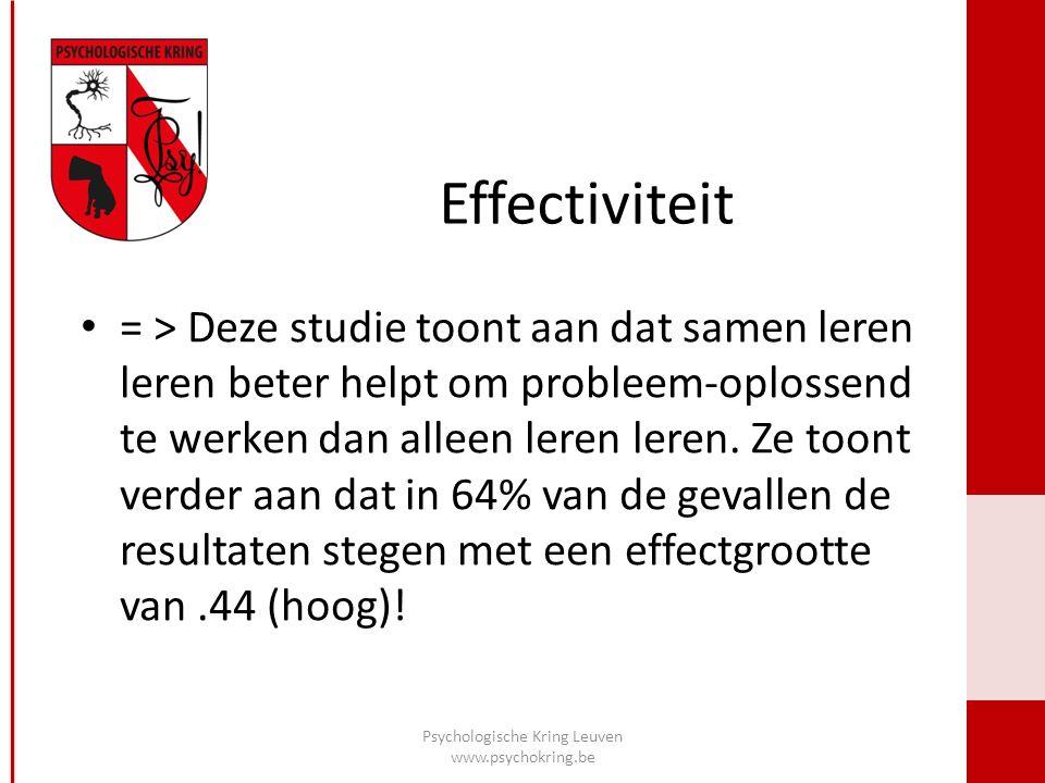 Effectiviteit = > Deze studie toont aan dat samen leren leren beter helpt om probleem-oplossend te werken dan alleen leren leren.