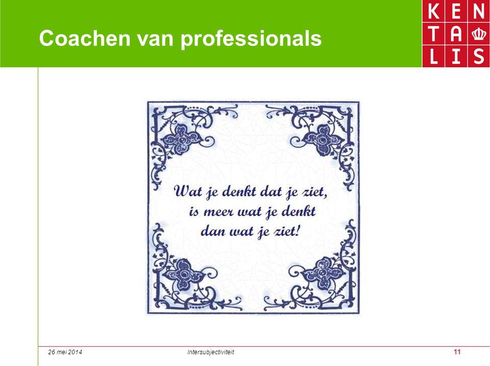 11 Coachen van professionals 26 mei 2014 Intersubjectiviteit