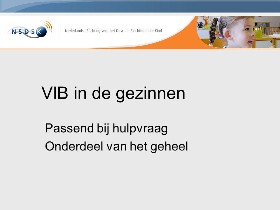 VIB in de gezinnen Passend bij hulpvraag Onderdeel van het geheel