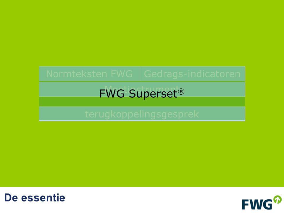 De essentie terugkoppelingsgesprek Normteksten FWGGedrags-indicatoren Meetinstrument FWG Superset ®