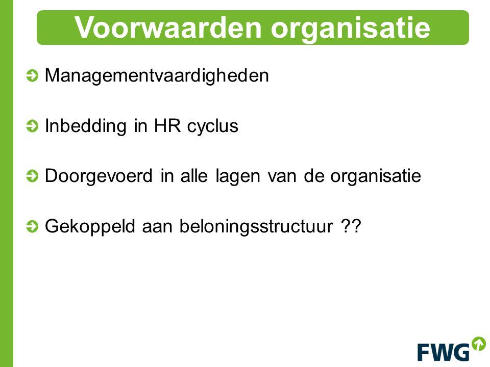 Managementvaardigheden Inbedding in HR cyclus Doorgevoerd in alle lagen van de organisatie Gekoppeld aan beloningsstructuur .