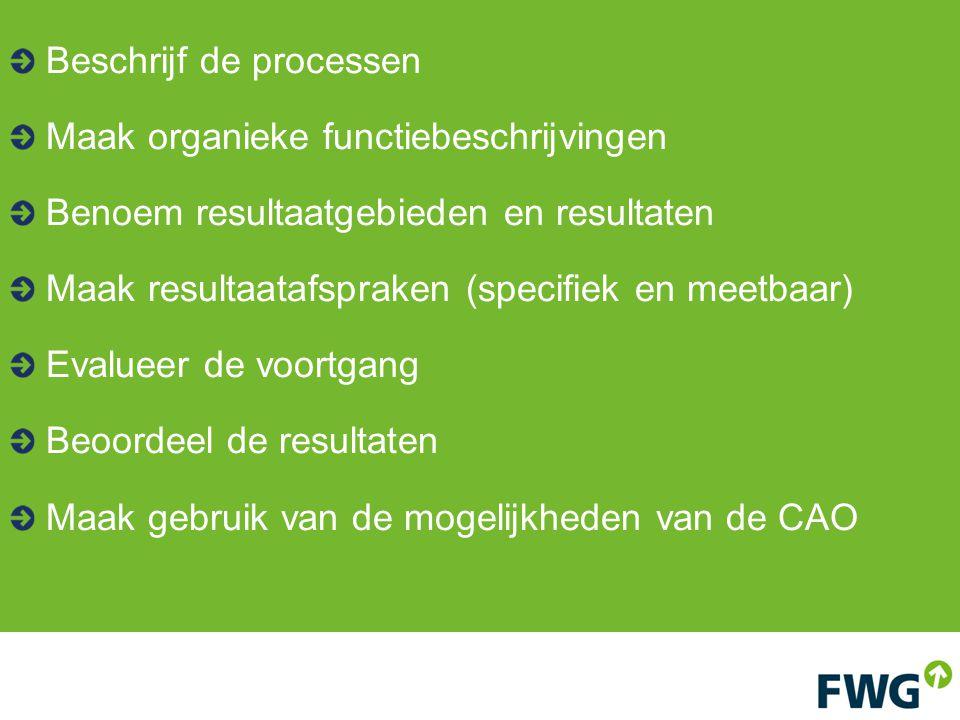 Beschrijf de processen Maak organieke functiebeschrijvingen Benoem resultaatgebieden en resultaten Maak resultaatafspraken (specifiek en meetbaar) Evalueer de voortgang Beoordeel de resultaten Maak gebruik van de mogelijkheden van de CAO