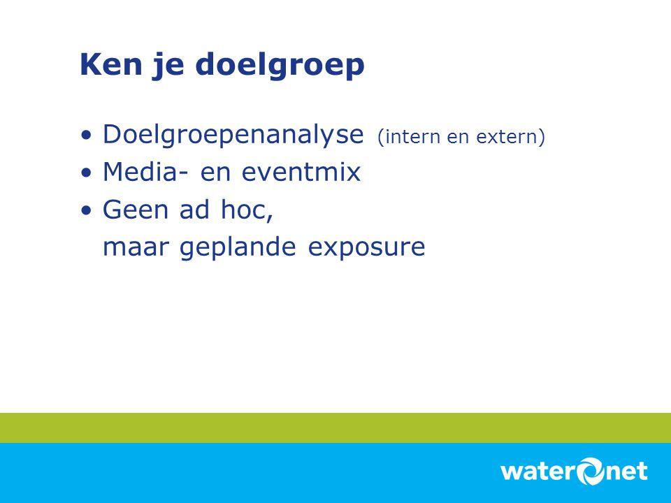 Ken je doelgroep Doelgroepenanalyse (intern en extern) Media- en eventmix Geen ad hoc, maar geplande exposure