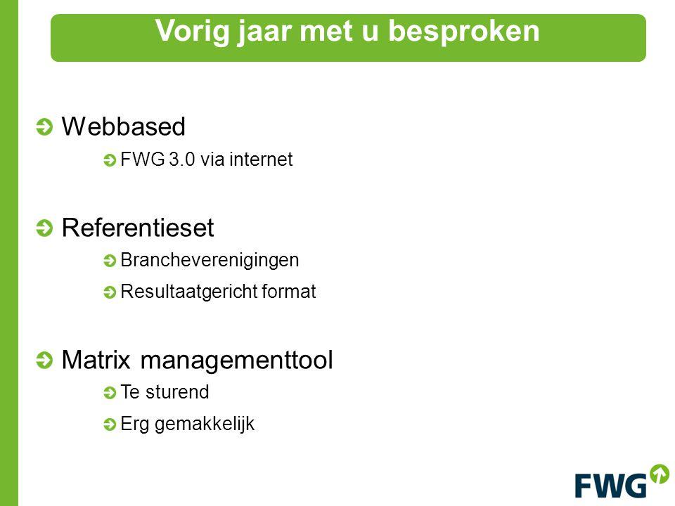 Webbased FWG 3.0 via internet Referentieset Brancheverenigingen Resultaatgericht format Matrix managementtool Te sturend Erg gemakkelijk Vorig jaar met u besproken