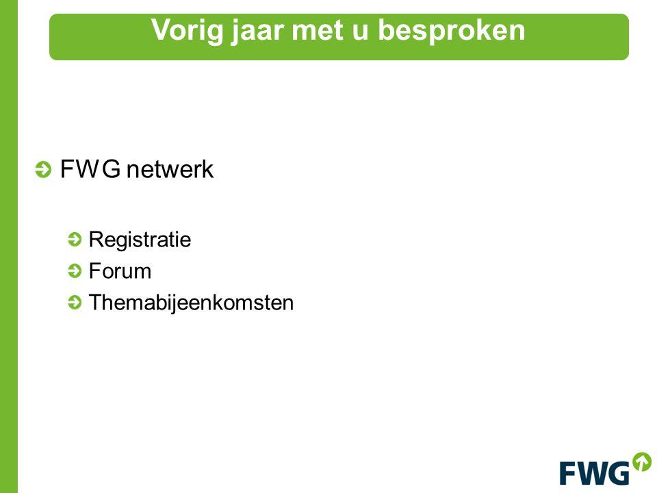 FWG netwerk Registratie Forum Themabijeenkomsten Vorig jaar met u besproken