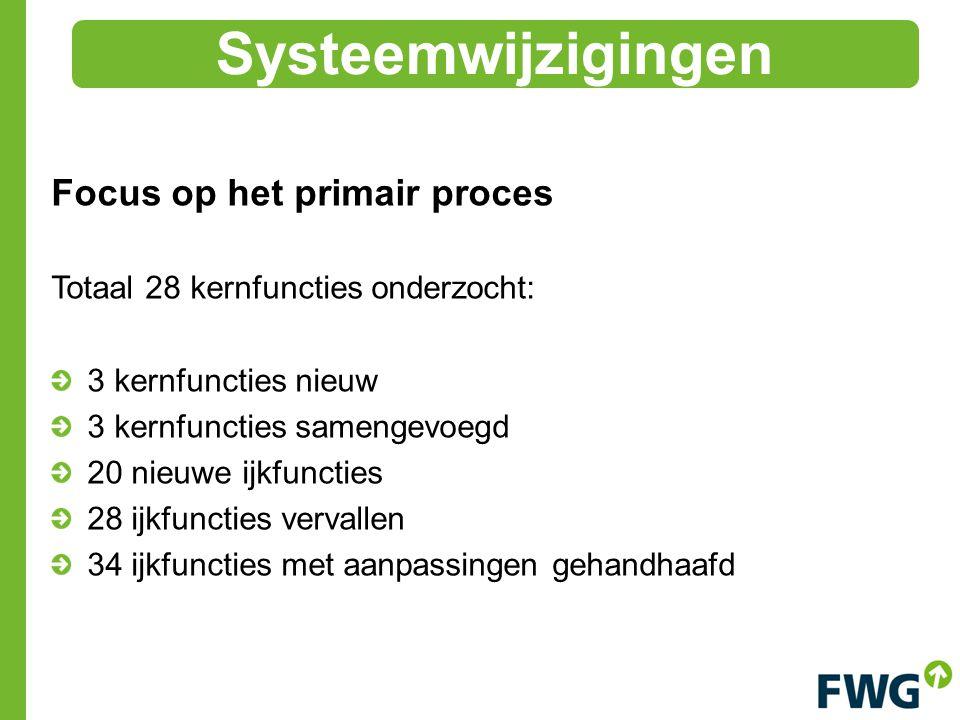 Focus op het primair proces Totaal 28 kernfuncties onderzocht: 3 kernfuncties nieuw 3 kernfuncties samengevoegd 20 nieuwe ijkfuncties 28 ijkfuncties vervallen 34 ijkfuncties met aanpassingen gehandhaafd Systeemwijzigingen