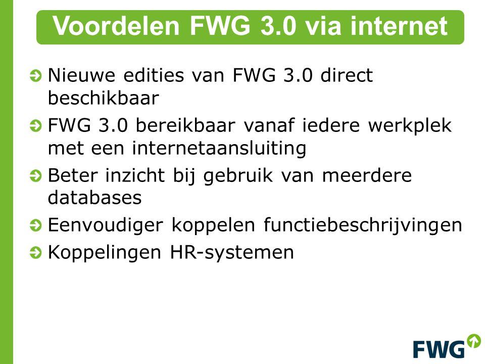 Voordelen FWG 3.0 via internet Nieuwe edities van FWG 3.0 direct beschikbaar FWG 3.0 bereikbaar vanaf iedere werkplek met een internetaansluiting Beter inzicht bij gebruik van meerdere databases Eenvoudiger koppelen functiebeschrijvingen Koppelingen HR-systemen