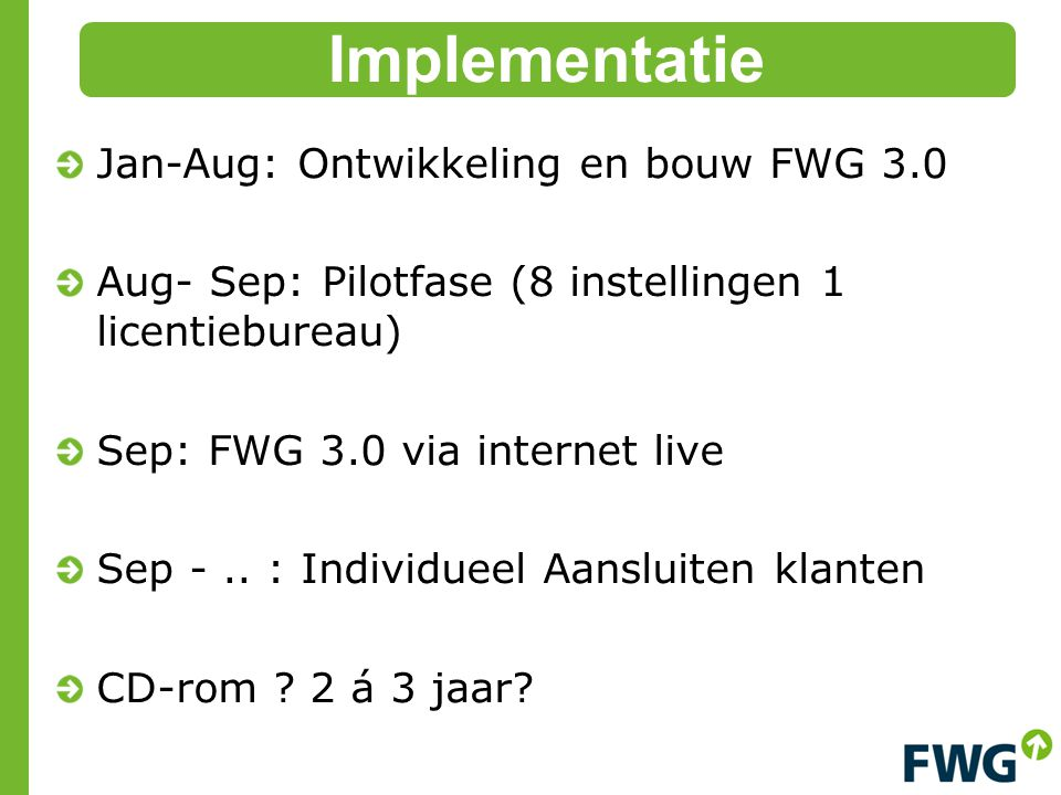Jan-Aug: Ontwikkeling en bouw FWG 3.0 Aug- Sep: Pilotfase (8 instellingen 1 licentiebureau) Sep: FWG 3.0 via internet live Sep -.. : Individueel Aansl