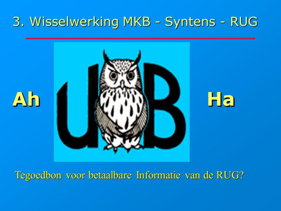 3. Wisselwerking MKB - Syntens - RUG HaHa Tegoedbon voor betaalbare Informatie van de RUG? AhAh