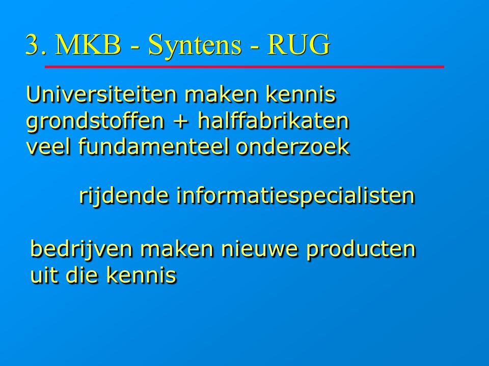3. MKB - Syntens - RUG Universiteiten maken kennis grondstoffen + halffabrikaten veel fundamenteel onderzoek Universiteiten maken kennis grondstoffen